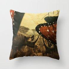 Diorama :: Rhinos Throw Pillow