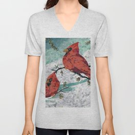 Cardinals In Winter Unisex V-Neck