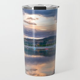 Calm Waters // Lake and Boats at Sunset Beautiful Landscape Photograph Scenic Mountain View Travel Mug