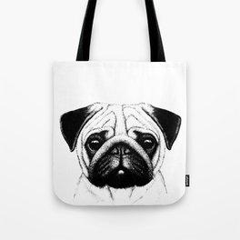 Black White Pug Pencil Sketch Tote Bag