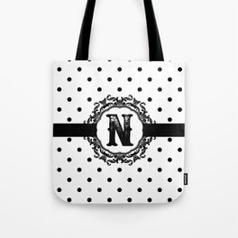 Black Monogram: Letter N Tote Bag