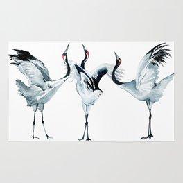 Watercolor storks Rug