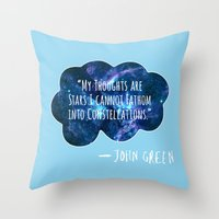 fault in our stars Throw Pillows featuring The Fault In Our Stars by CATHERINE DONOHUE