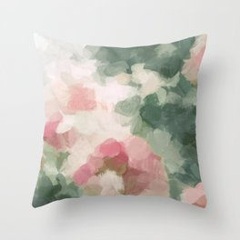 Forest Sage Green Fuchsia Pink Floral Rose Garden Abstract Flower Painting Art Print Wall Decor  Throw Pillow