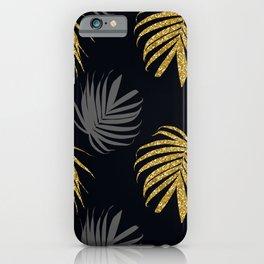 golden glitter leaves iPhone Case