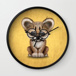 Cute Cougar Cub Wearing Reading Glasses on Yellow Wall Clock