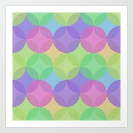 Multicoloured Layered Geometric Circles Digital Pattern Art Print
