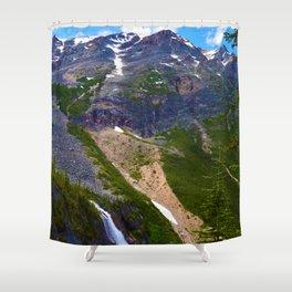 Geraldine Waterfall located in Jasper National Park, Canada Shower Curtain