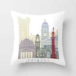Trieste skyline poster Throw Pillow