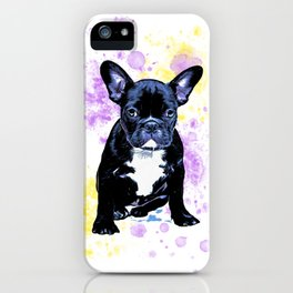 French Bulldog Watercolor Inky iPhone Case