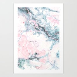 Blue and Pink Marble Art Print