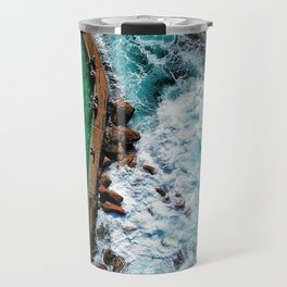An aerial shot of an ocean rock pool in Bronte beach, Sydney Australia Travel Mug