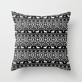 Border Collie fair isle christmas black and white holiday sweater dog breed gifts Throw Pillow