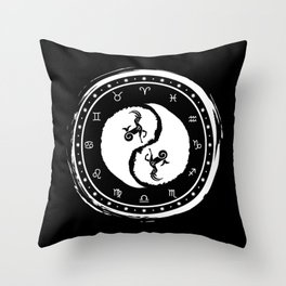 Capricorn Yin Yang Tenth Zodiac Sign Throw Pillow