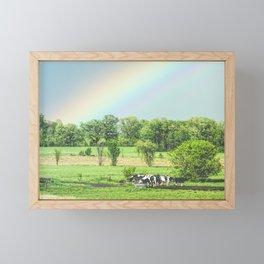 Cows and a Rainbow Framed Mini Art Print