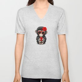 Red and Yellow Day of the Dead Sugar Skull Baby Chimp Unisex V-Neck