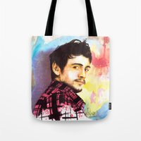 james franco Tote Bags featuring James Franco by Anguiano Art