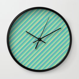 Lime Inclined Stripes Wall Clock