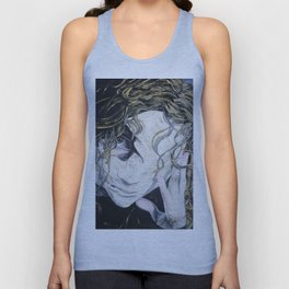 Oil paint on canvas painting of a woman behind a blank mask with a pained eye Unisex Tank Top