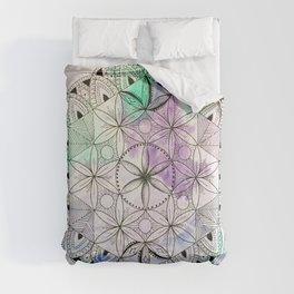 Pastel Mandala/Crystal Grid, Sacred Geometry Comforters