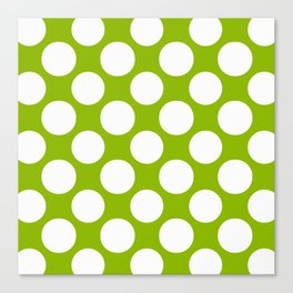 White & Apple Green Spring Polka Dot Pattern Canvas Print