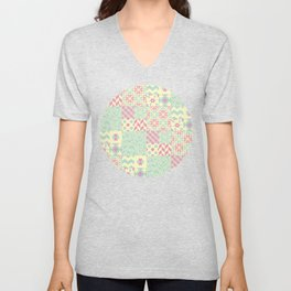 Yellow, Pink & Green Squared Patchwork Pattern Unisex V-Neck