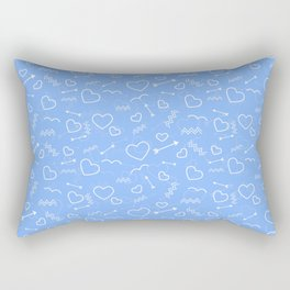 Pale Blue Valentines Love Heart and Arrow Rectangular Pillow