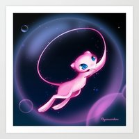 mew Art Prints featuring Mew by Psyconorikan