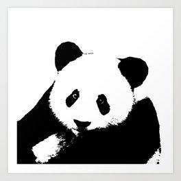 Giant Panda in Black & White Art Print