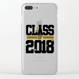 class of 2018 graduation grade senior 2018 new student love art gold hot Clear iPhone Case