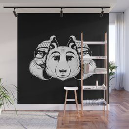 Bear Inside Black And White Wall Mural