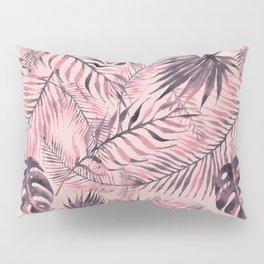 Jungle leaves pattern - Pink Pillow Sham