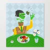 vegetarian Canvas Prints featuring Vegetarian parody by Bakal Evgeny