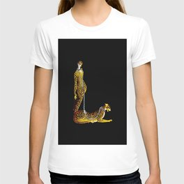 """Lady and the Leopard"" Art Deco Design T-shirt"