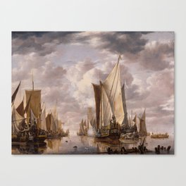 Shipping in a Calm at Flushing with a States General Yacht Firing a Salute 1649 Canvas Print