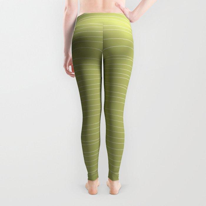 Horizontal White Stripes on Light Green Leggings