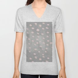Creative gray blush pink watercolor paint brushstrokes Unisex V-Neck