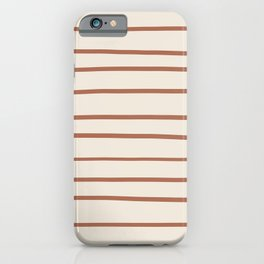 Inspired By Cavern Clay Sw 7701 Hand Drawn Thin Horizontal Lines on Creamy SW7012 iPhone Case