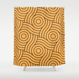 Circle Swirl Pattern VA Bright Marigold - Spring Squash - Pure Joy - Just Ducky Shower Curtain
