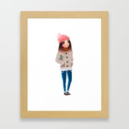 teenager wearing warm winter clothes Framed Art Print