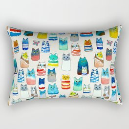 Lots of Watercolor Kitty Cats Rectangular Pillow