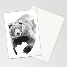Geometric Bear on White Stationery Cards