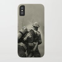 foo fighters iPhone & iPod Cases featuring Fire Fighters by Jacqueline Clark