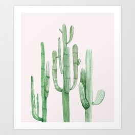 Three Amigos Pink + Green Art Print