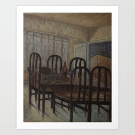 Still Life - Brown Dining Table in Morning Light - Oil on Canvas Art Print