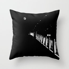 Bridge, Lights, Moon in low key - Fine Art Photography Throw Pillow