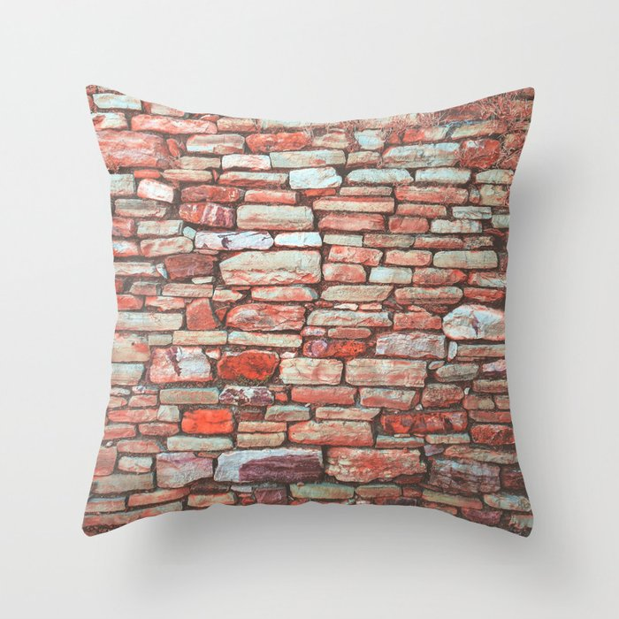 Brick Wall Color Throw Pillow By Nocolordesigns Society6