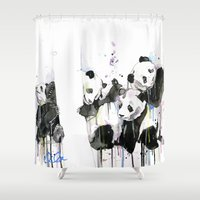 pandas Shower Curtains featuring Pandas by ellaclawley