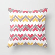 Chevron Pattern - Coral, Mustard & Grey Throw Pillow
