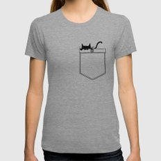 Pocket Cat X-LARGE Womens Fitted Tee Tri-Grey